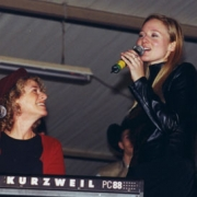 Performing for the troops at Camp Bondsteel in Kosovo with Jewel. Photo by Robert D. Ward