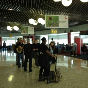 Band & Crew at Sydney Airport.  Photo by Elissa Kline