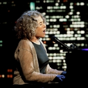 Carole King performs on the Tavis Smiley Show.  Photo by Van Evers