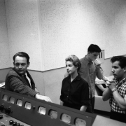 Aldon Music executive Al Nevins, Carole, Gerry Goffin and session guitarist Jerry Landis aka Paul Simon. Photos Courtesy of Sony Music Entertainment Archive