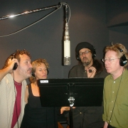 Recording vocals with Gary Burr, Mark Hudson and Paul Brady. Photo by Rudy Guess