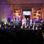 Finale! With all artists and Band Members: Rob Mounsey, David Fink, Henry Hey, Bashiri Johnson, Dean Parks, Shawn Pelton, Arturo Sandoval, Jill Dell'Abate, Dennis Collins & Catherine Russell.   Photo by Elissa Kline