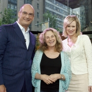 Pictured with Carole on the set of 'Sunrise' are program hosts, Kochie and Mel. Photo by John Stanton