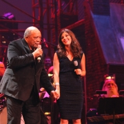 "Quincy Jones with  Nikki Yanofsky, who performed ""Smackwater Jack"".  Photo by Elissa Kline"